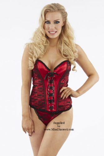 Women's Red Satin Corset Style Basque & G-String Set with Black Lace Overlay